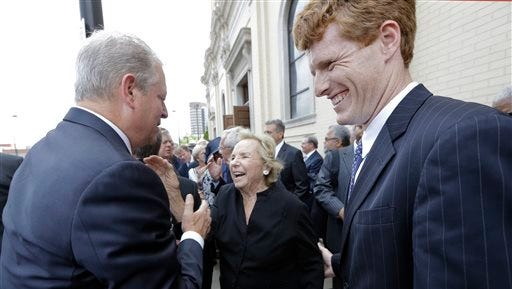 Ethel Kennedy talks with former Vice President Al Gore, left, as she and her grandson, Joe Kennedy III, right, leave the funeral for John Seigenthaler today in Nashville, Tenn. Seigenthaler, a journalist who edited The Tennessean newspaper, helped shape USA Today and worked for civil rights during the John F. Kennedy administration, died July 11. He was 86.