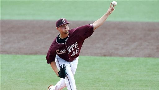 Mississippi State pitcher Lucas Laster pitches in the first inning during an NCAA college baseball tournament regional game against Louisiana-Lafayette in Lafayette, La., Monday, June 2, 2014. (AP Photo/Jonathan Bachman)