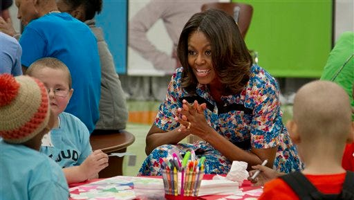 First lady Michelle Obama visits patients at St. Jude Children'?s Research Hospital on Wednesday, Sept. 17, 2014, in Memphis.