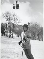 A skier seen below the old tram at Jay Peak in the 1960s.