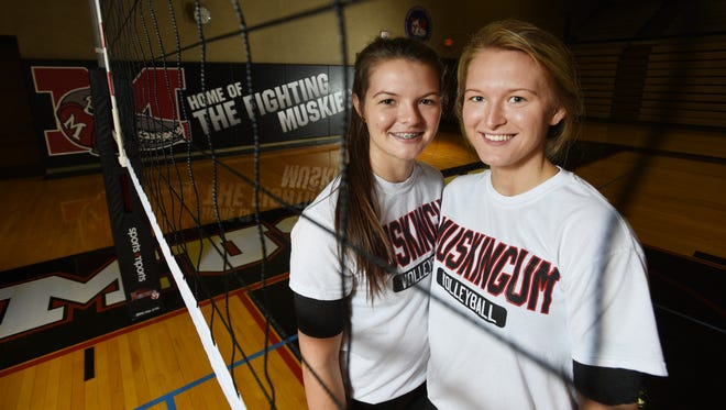 Muskingum University senior volleyball player Taylour Fatheree, right, welcomed her younger sister Brooke to the squad this year. The pair graduated from John Glenn High School.