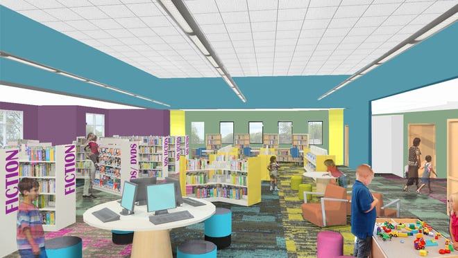 The children's area in the improved Caille Branch Library is aimed at interactive learning.