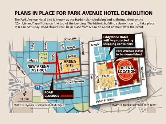 The Park Avenue Hotel is scheduled to be demolished on Saturday at 8 a.m.