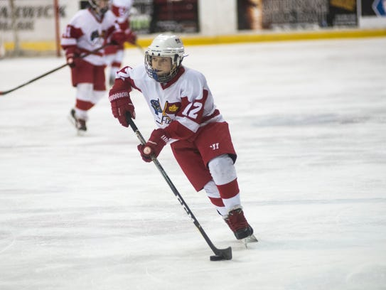 Port Huron Flags' Matt Graham skates down the ice with