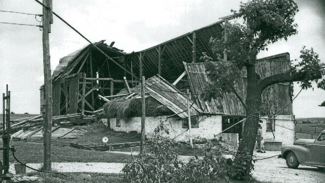 A tornado which tore from St. Cloud to Greenbush destroyed property at the rate of more than $3,157 a minute on Sept. 22, 1961. Damage on the Francis Lehman farm on Highway 23.