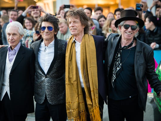 Charlie Watts, Ronnie Wood, Mick Jagger and Keith Richards of the Rolling Stones on April 4, 2016 in London, England.