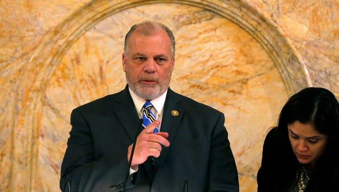 Senate President Stephen Sweeney conducting ceremonial resolutions on Monday.
