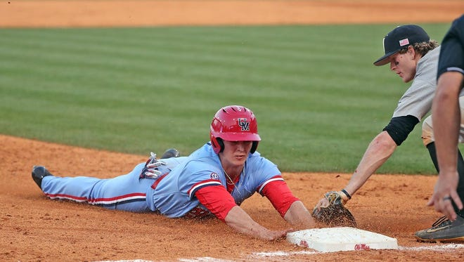 Ole Miss' Chase Cockrell delivered the go-ahead hit and scored a run in the Rebels' 10-8 victory over Vanderbilt Sunday.