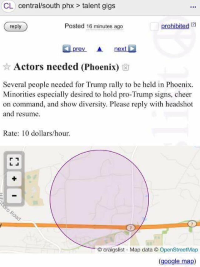 Craigslist Com Phoenix >> Mystery Ad Offers Pay For Trump Support At Rally