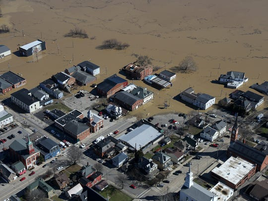 Aerial photograph of Aurora, Ind. as flood waters break the banks of the swollen Ohio River, Monday, Feb. 26, 2018. The river crested at 60.7 feet Sunday evening, according to the National Weather Service. The river rose above the 60 feet mark for the first time in two decades Sunday morning.