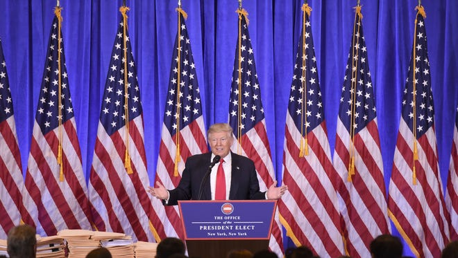 President-elect Donald Trump speaks during a Jan. 11 news conference.