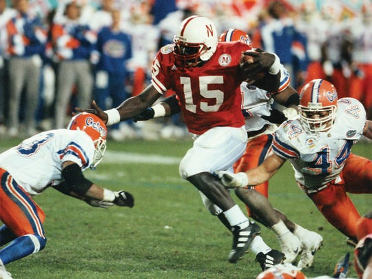 Nebraska quarterback Tommie Frazier led a prolific and bruising option rushing attack for the Huskers in 1995, including a 62-24 drubbing of No. 2-ranked Florida in the Fiesta Bowl, giving the Huskers the national championship.