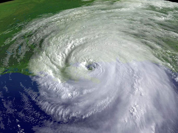 In this satellite image from NOAA, a close up of the center of Hurricane Katrina's rotation is seen at 9:45am EST on August 29, 2005 over southeastern Louisiana. Katrina made landfall this morning as a Category 4 storm with sustained winds in excess of 135 mph near Empire, Louisiana.