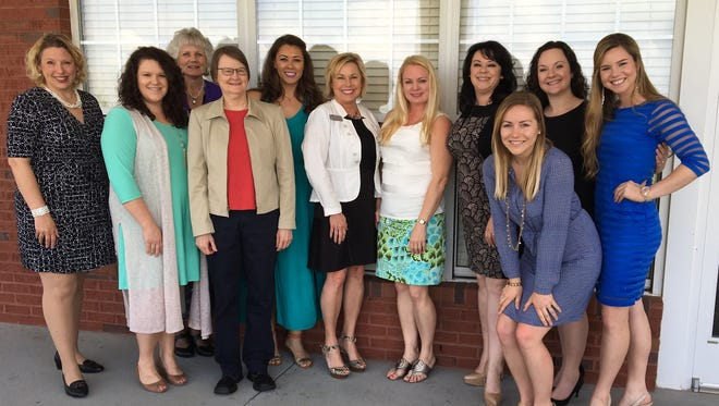 Those participating in the Rutherford Cable mentoring program for 2016-17, from left, are Jackie Morgan, Lauren Knox, Patti James, Jill Austin, Melinda Hudgins Noblitt, Carolyn Tumbleson, Christy Fancher, Amelia Bozeman, Phoebe Wilkins, Tosha Stoutenburg, and Hillari Smithson.
