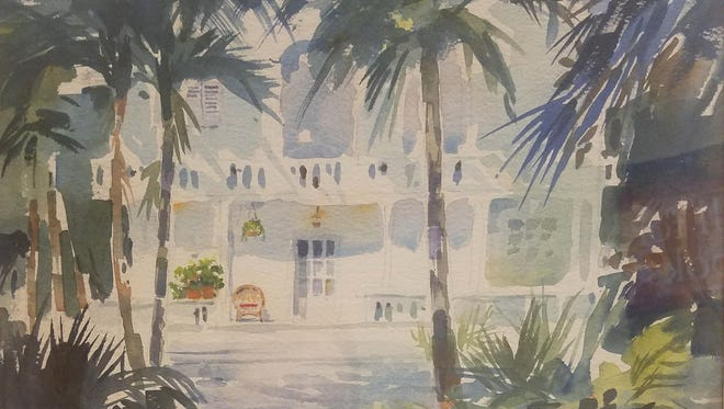 """Key West,"" one of the watercolor paintings by late Manitowoc artist Helen Baertschy that will be auctioned off Dec. 1-23 at Manitowoc Public Library."