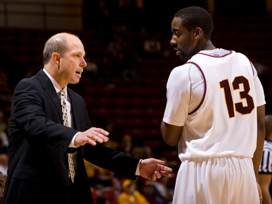 ASU head coach Herb Sendek talks to James Harden during