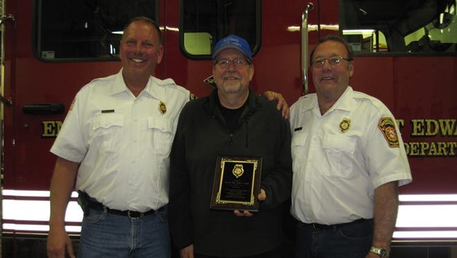 Pictured are Port Edwards Fire Chief Jim Leiser, from left, Dennis Saeger and Second Assistant Fire Chief Delno Stewart.