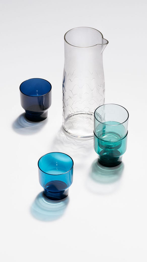 Carafe drinkware set 5 piece in Lokki Print, $24.99.
