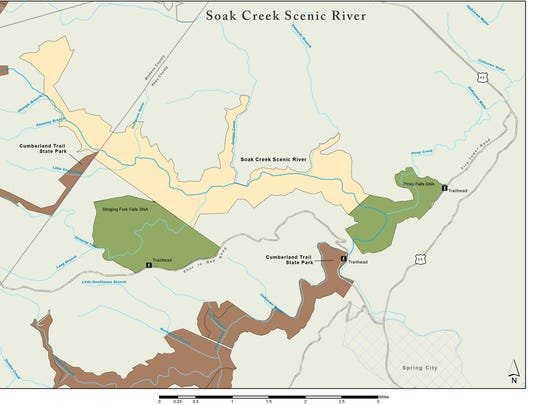 Map showing where Soak Creek Section fits into Cumberland Trail project.