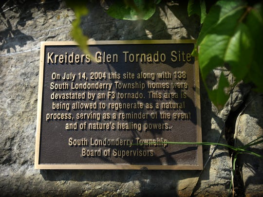 On July 14, 2004, a F3 tornado tore through South Londonderry Township and destroyed 138 homes. Today, much of the area has been allowed to return to nature. A plaque marking the site sits just south of a pond in the former development.