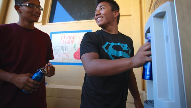 Coachella Valley High School students receive a donated Brita hydration station on June 11, 2015. The hydration stations allow students to access to clean free drinking water.
