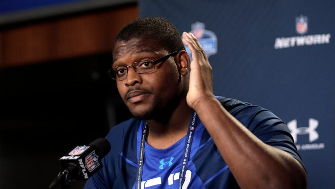 Duke offensive lineman Laken Tomlinson answers a question during a news conference at the NFL football scouting combine in Indianapolis on Wednesday.