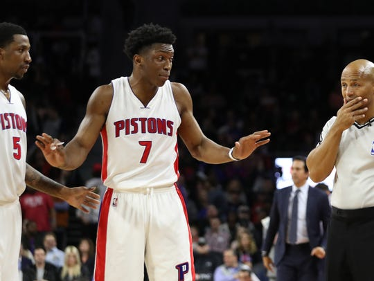 Detroit Pistons forward Stanley Johnson (7) argues