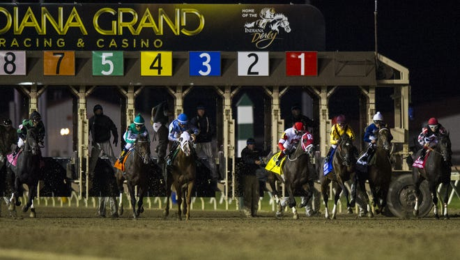 Horses leave the gates at the start of the 2014 Indiana Derby.