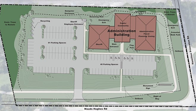 Here is a site plan rendering of the new LIberty Township Administration Building.