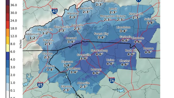 The Anderson-Oconee area could see 2-4 inches of snow starting Thursday, January 5, 2016. The event will last through Saturday.