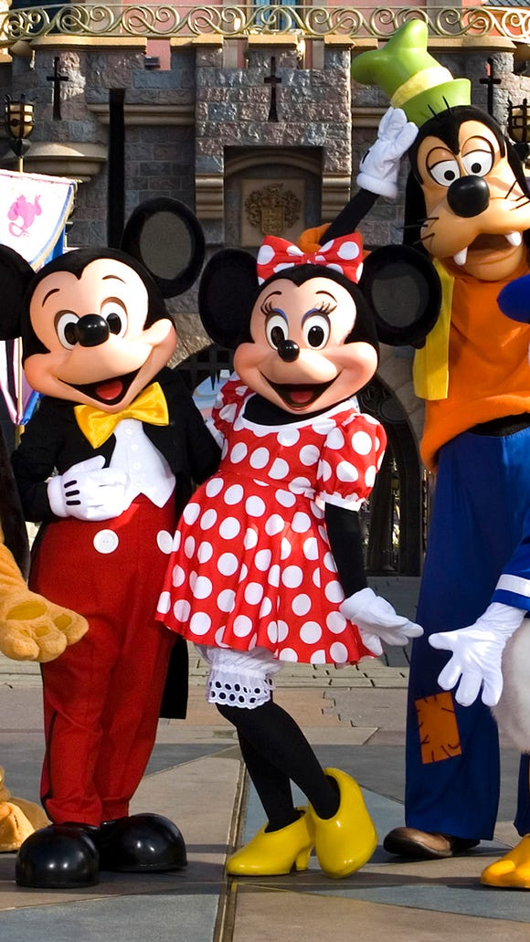 The classic Disney characters welcome visitors outside