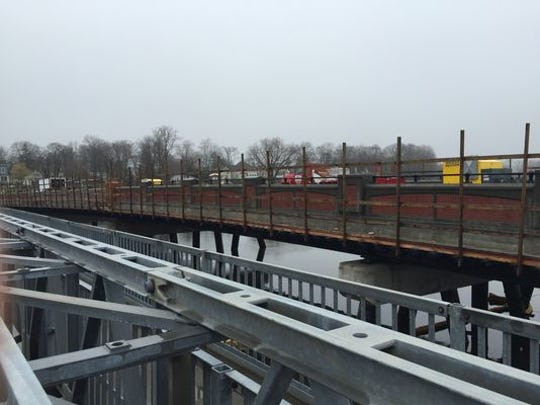 Brick detailing on the new West Front Street bridge between Red Bank and Middletown. Construction is on track to be completed May 18.