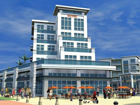 This 2011 rendering depicts a 70-room proposed hotel as part of the third phase of Pier Village in Long Branch. New Pier Village owner Jared Kushner is discussing development ideas with the city.