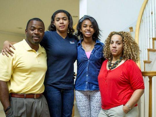 From left: Sherlock, Jordynn, 14, Jocelynn, 12 and Shae-Brie Dow at their home in Freehold. The Dows are fighting a ruling by the administration at Barkalow Middle School, in Freehold, that would ban their daughter Jocelynn, who has autism, from continuing to participate in an accelerated math class which she has been in all year and has done well in.