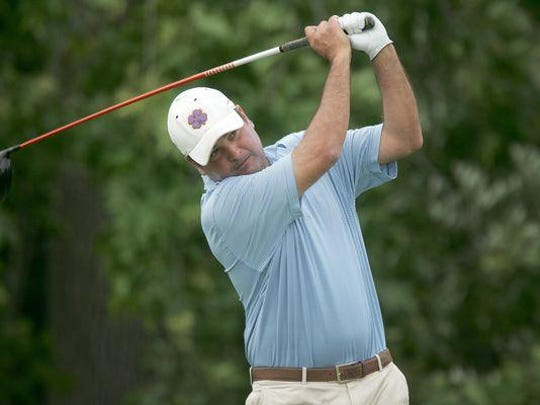 Brielle's Mike Stamberger, shown at the 2013 NJSGA Amateur Championship, grabbed a share of the early lead in the first round at this year's event at Morris County Country Club on Tuesday, firing a 1-under-par 69.