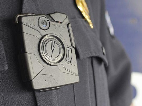 The Lancaster (Ohio) Police Department body cameras are worn on the chest, with a clip attaching the camera to the uniform.
