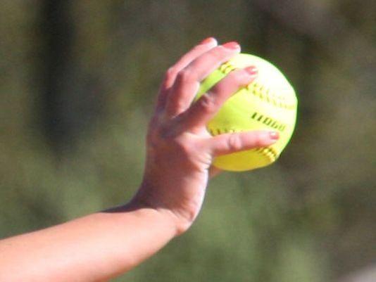 Softball in hand