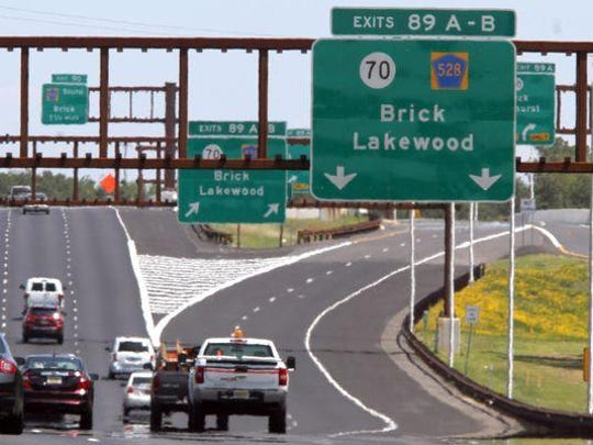 Traffic approaches the new Parkway exit 89 on June 10, that will allow northnbound traffic access to Route 70 and 528 in Lakewood.