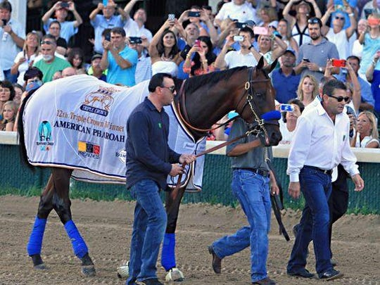Triple Crown winner American Pharoah, led by assistant trainer Jimmy Barnes, right, groom Eduardo Garcia, obscured, and exercise rider Jorge Alvarez parade in front of the crowd at Churchill Downs in Louisville, Ky., on Saturday.