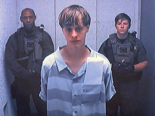 Dylann Storm Roof via video before a judge in Charleston, S.C., on Friday.