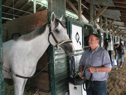 Trainer Ed Plesa Jr. and Mr. Jordan at Monmouth Park