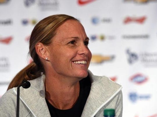 Christie Rampone talks to the press during the World Cup Media Day on May 27 in New York City.
