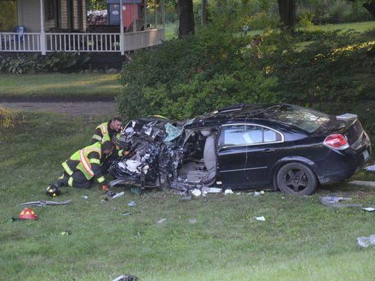 Daniel Beard and Alivia Olmstead were seriously injured when another vehicle collided with their car Sunday evening.