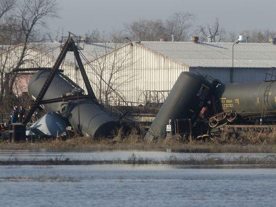 Seven cars on a train operated by Conrail derailed in Paulsboro on Nov. 30, 2012.