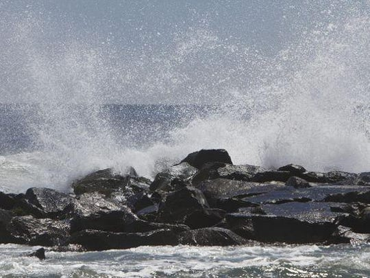 The Shore could be impacted by a nor'easter this weekend that could create rip currents at the beaches as it skirts the coast. Waves crash into a Spring Lake jetty where a rip current was located in this 2012 file photo.