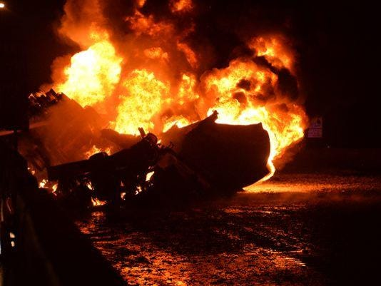 fiery tanker crash