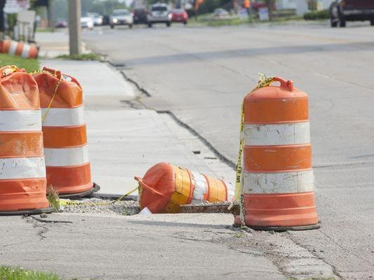 Orange barrels street work