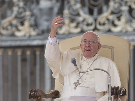 Pope Francis delivers a speech at the Vatican Sept. 9