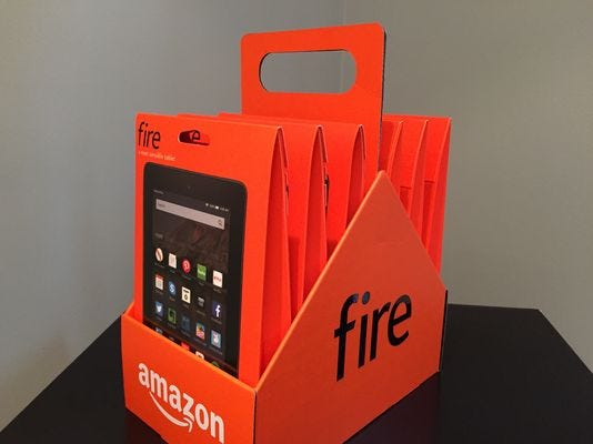 """A """"six pack"""" of Amazon Fire 7-inch tablets are available to preorder for $249.95."""