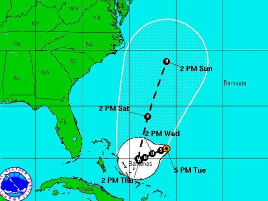 The latest forecast track of Tropical Storm Joaquin.